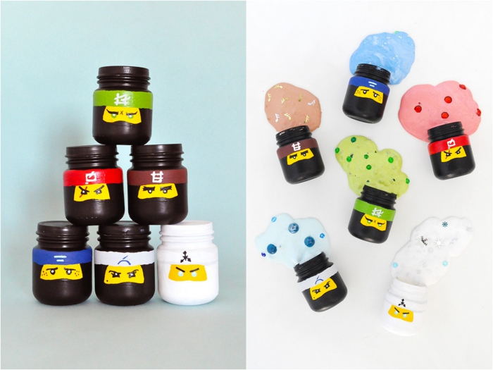 decoración DIY con slime casero, pequeños frascos decorativos pintados en marrón llenos de slime