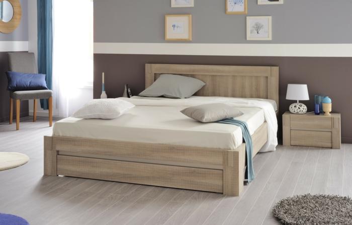 pintar habitacion juvenil, dormitorio matrimonial con cama con sábanas en beige con cojines grises