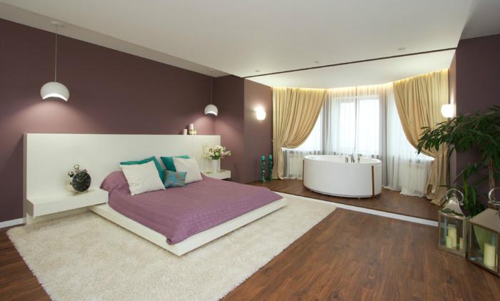 pintar habitacion juvenil con suelo de parquet con alfombra blanca, cama con cabecera larga