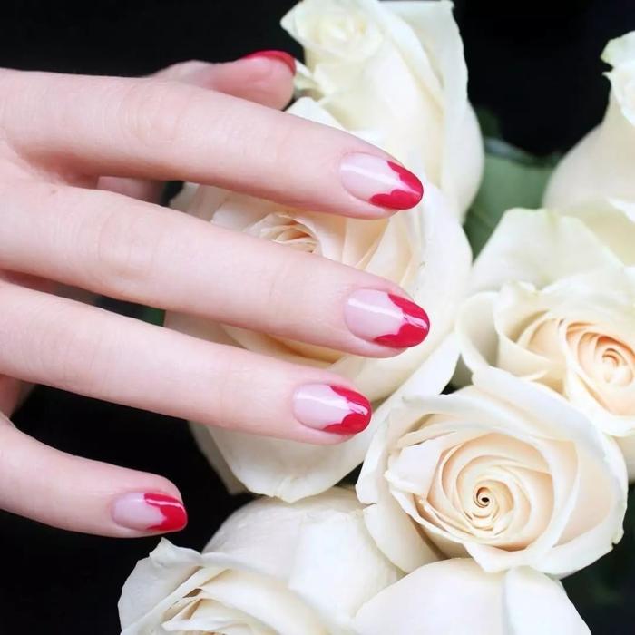 manicura francesa en rojo, ideas de diseños originales y elegantes segun las ultimas tendencias