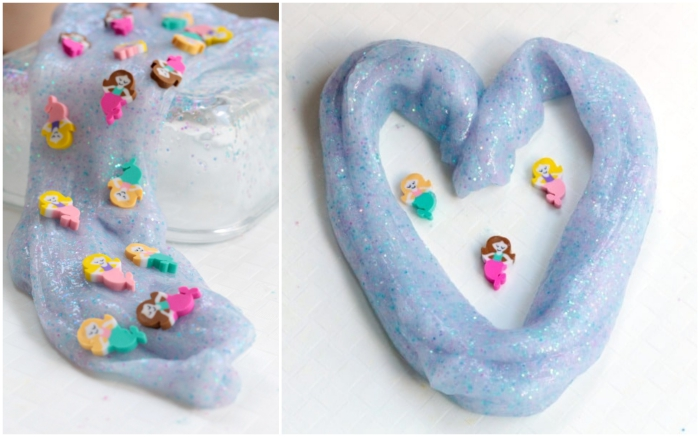 ideas de manualidades originales con slime, como se hace slime paso a paso, slime con pequeños adornos
