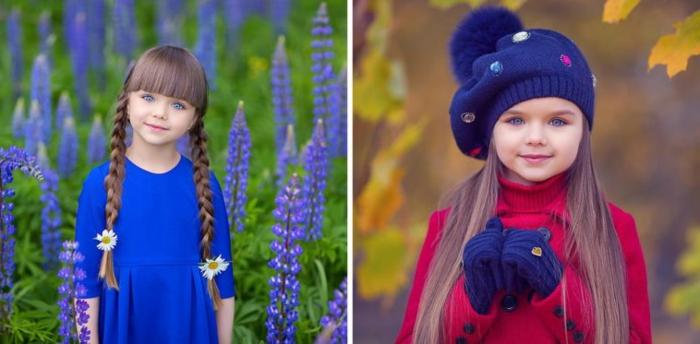 recogidos faciles, niña con dos peinados diferentes, una con dos trrenzas en cada lado de la cabeza