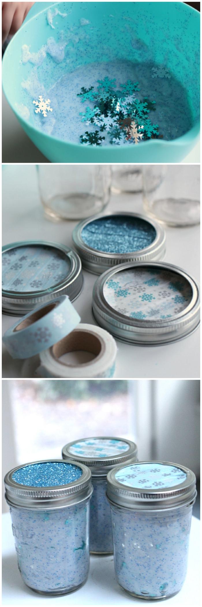 preciosa decoración con tarros de cristal llenos de slime en color azul, manualidades para decorar la casa