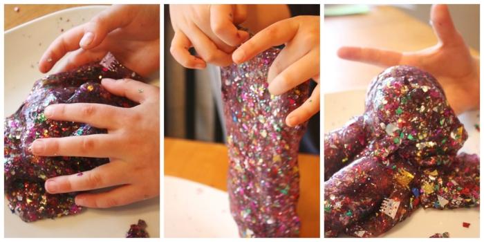 pasos para hace slime con lentejuelas, originales ideas sobre como hacer slime con cola blanca