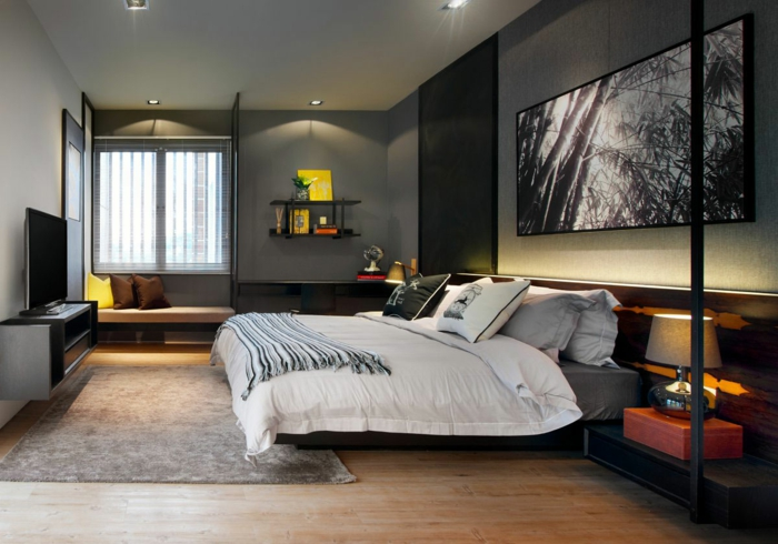 diseño moderno en colores oscuros, dormitorio con paredes en gris y luces empotradas