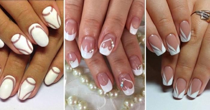 tres ejemplos de uñas francesas con elementos decorativos, bonitas ideas en blanco para novias