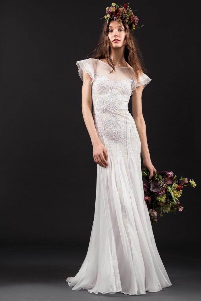 preciosa propuesta de vestido de novia largo en blanco, vestidos ibicencos baratos y bonitos