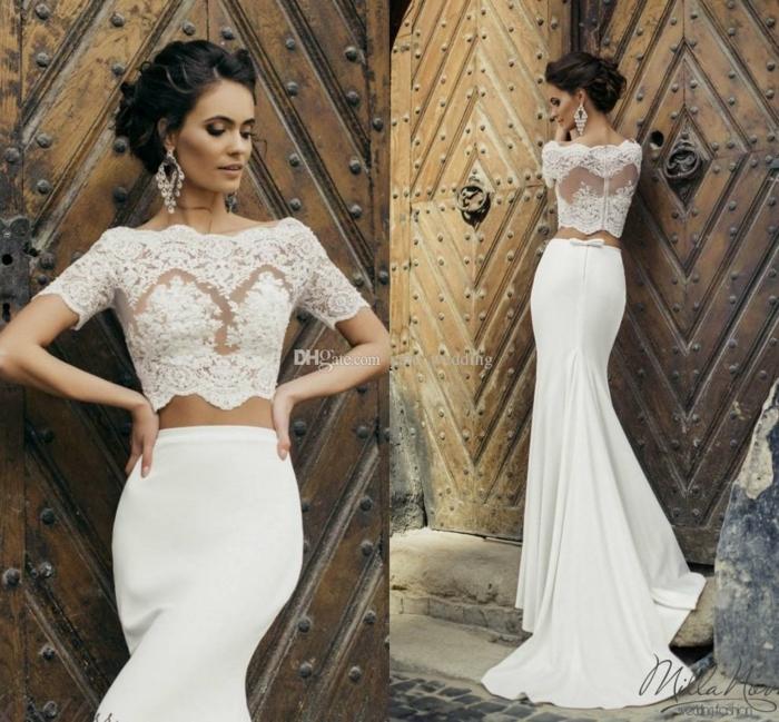 elegante vestido en dos piezas, parte superior de encaje con mangas cortas y larga falda con degradado