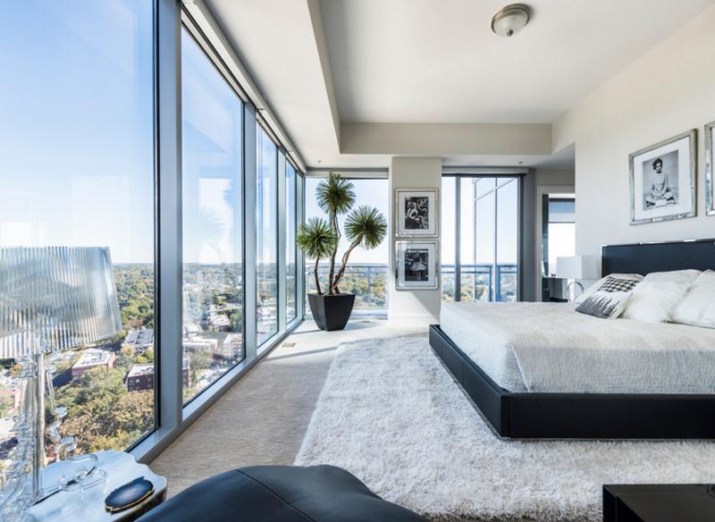 dormitorios matrimonio con preciosa vista, interiores que enamoran, grande cama moderna