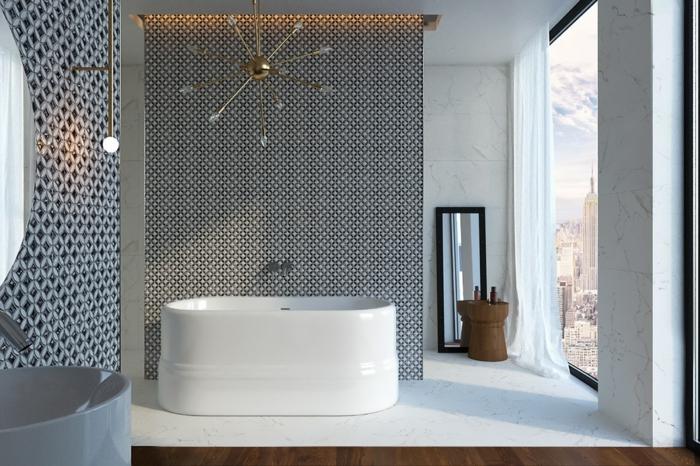 baño gris y blanco de diseño, estilo contemporáneo tendencia minimalista, bañera exenta moderna