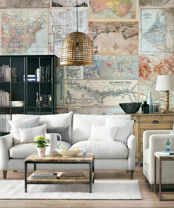 decoraciones para casas, sofa blanco con doble asiento, vinilo con mapas geograficas del mundo