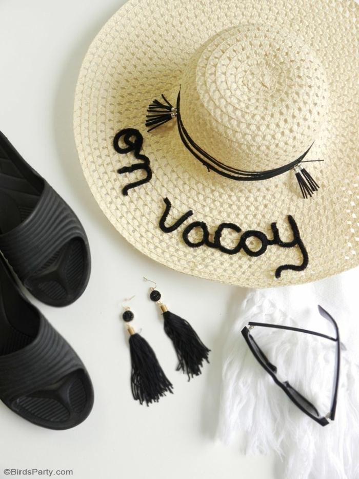 precioso sombrero decorado en negro, ideas de manualidades faciles y rapidas para hacer en verano