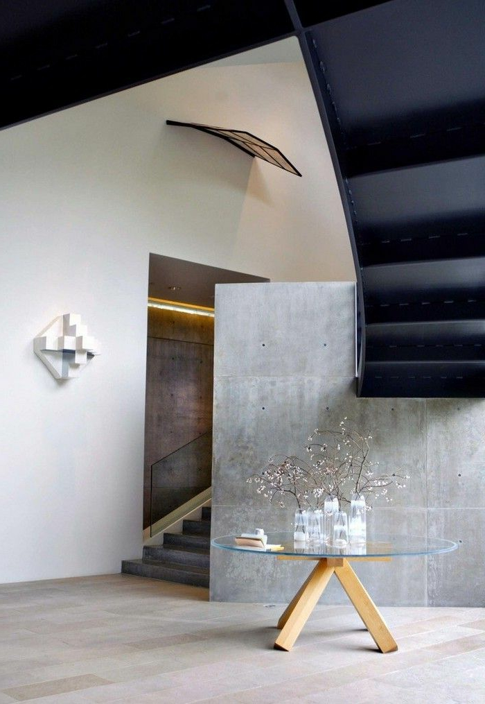 bonitas ideas de decoracion de recibidores modernos, suelo de baldosas, mesa de cristal oval