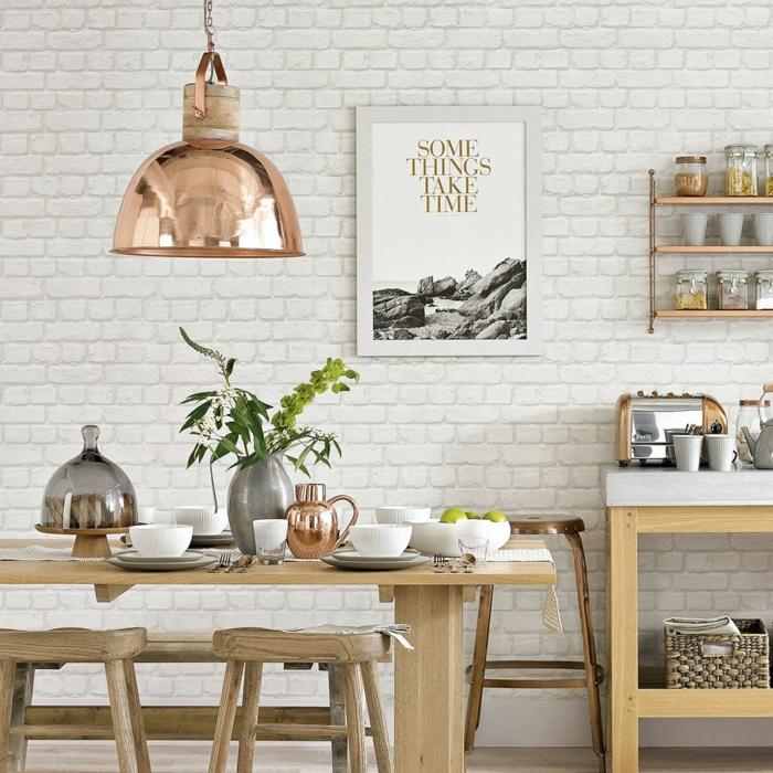 decoracion de pisos, cocina con pared de ladrillos en blanco, cuando con inscripcion en la pared