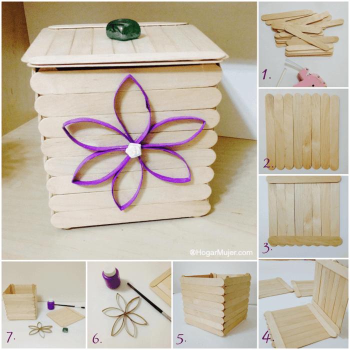 regalos caseros para amigas, caja hecha de palos finos, imagen con los pasos a seguir para hacerla en casa