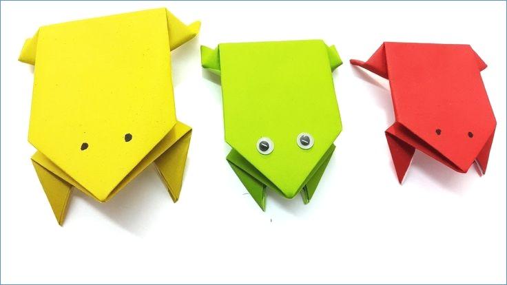 divertidas ideas de manualidades con papel, ranas de papel decorativas, manualidades para niños y adultos