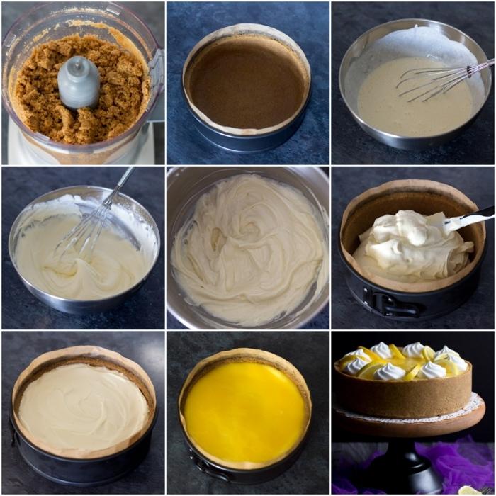 pasos para preparar una tarta de queso sin horno de limón y crema mascarpone en imágines
