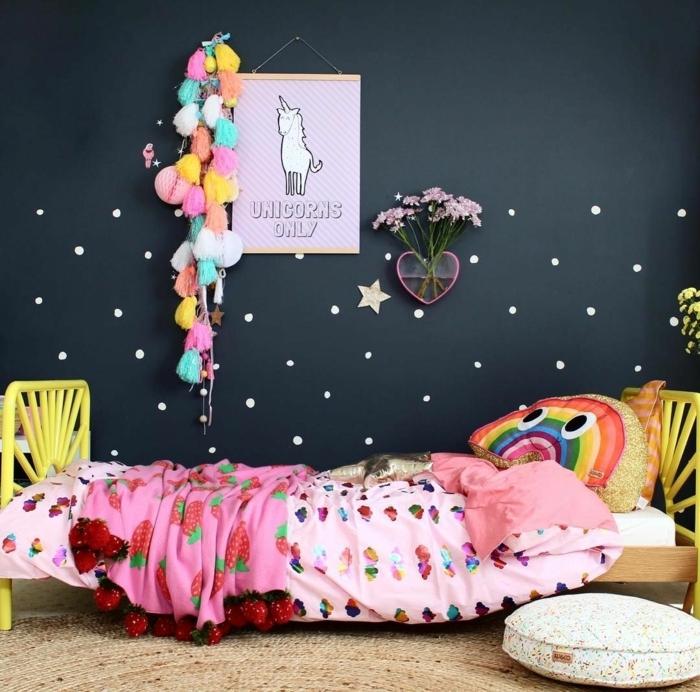 habitaciones juveniles, cama con almohada de arcoiris con sabanas en rosa claro, pared en azul oscuro