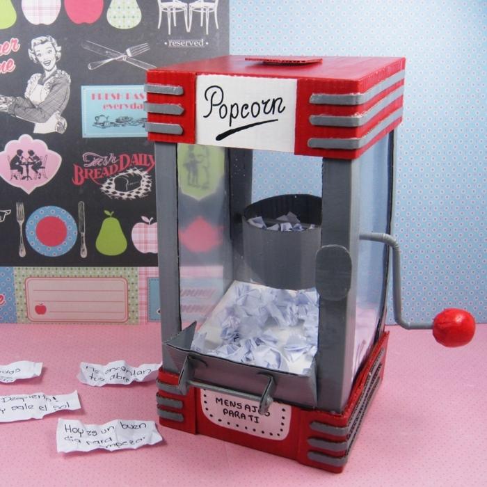 regalos originales para amigas, maquina de palomitas con mensajes para tí, popcorn máquina