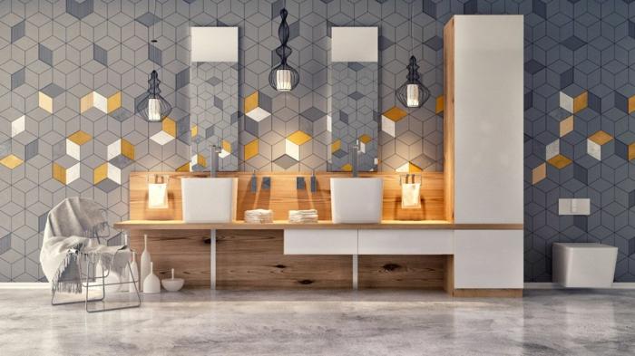 baño ecléctico decorado en blanco, gris y ocre, suelo de mármol, baño gris y blanco ideas de decoración