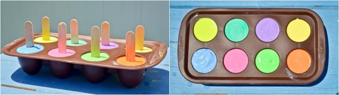 pasos para elaborar unas tizas DIY en forma de helado en los colores del verano, ideas de manualidades faciles y rapidas