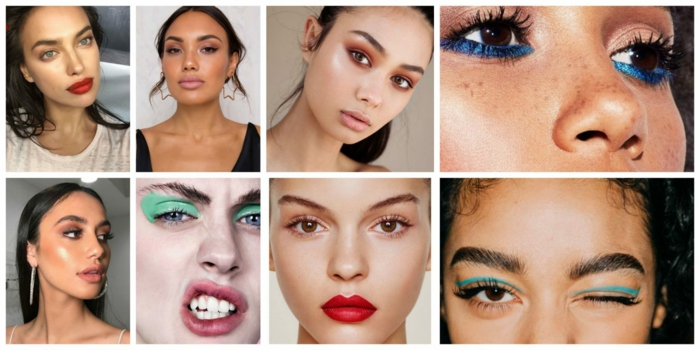 tendencias en el maquillaje 2018 y 2019, ideas de maquillaje con labios rojos y maquillaje de ojos