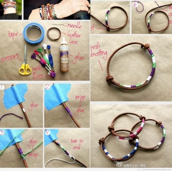 regalos originales para amigas, pulsera de cuero decorada con hilos de diferentes colores, paso a paso