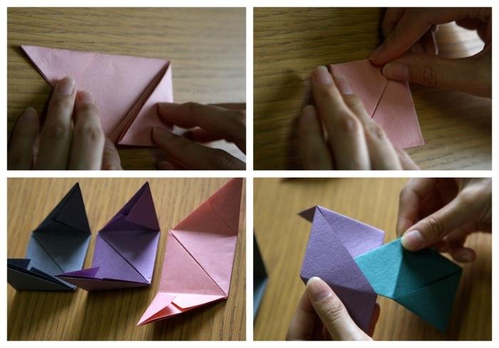 pasos para hacer un cubo de papel DIY, origami facil para hacer en casa, cubos 3D de papel en colores
