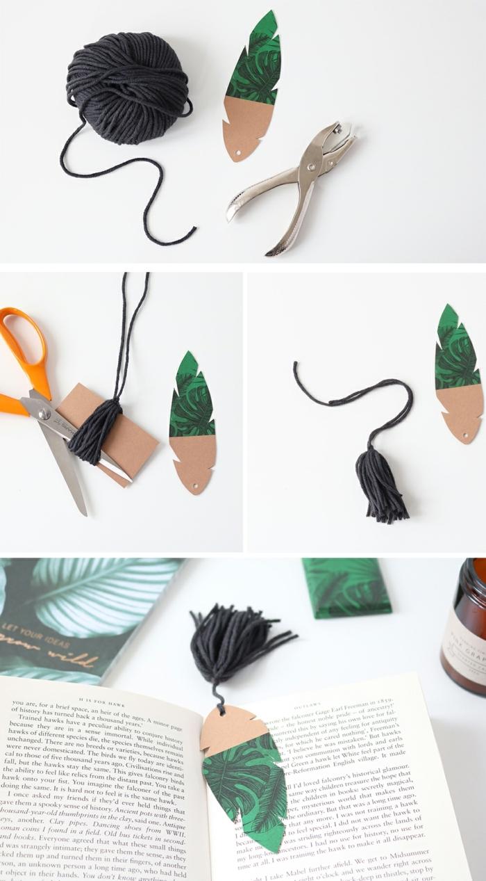 marcarpaginas originales paso a paso, detalles de cartón con estampados botánicos tutorial