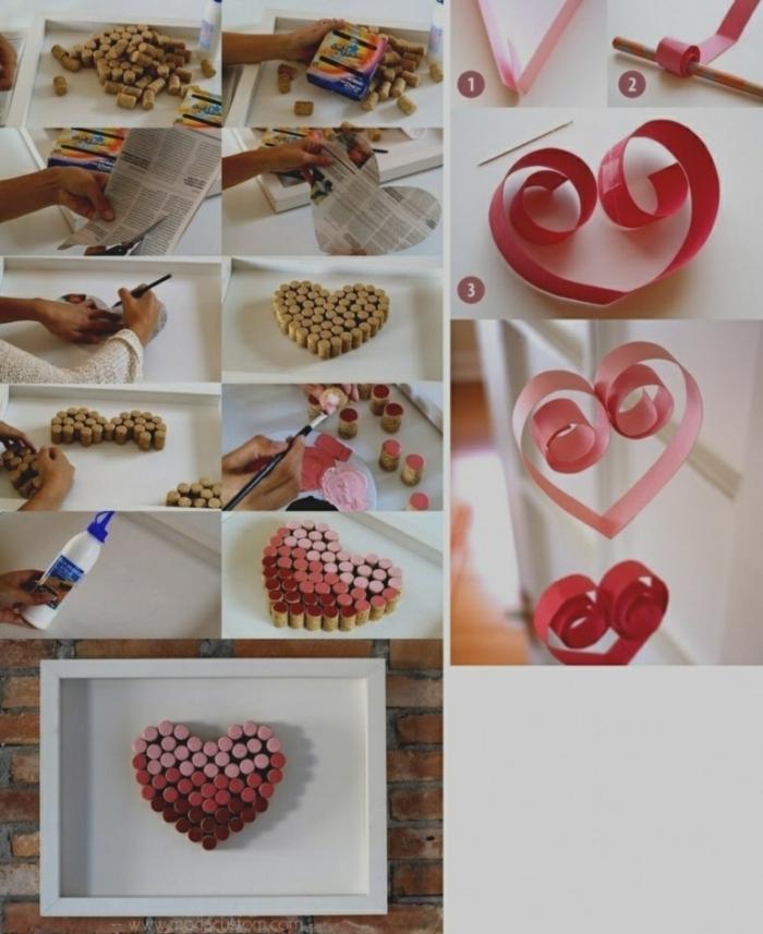 que le puedo regalar a mi mejor amiga, corazón hecho de tapas de corcho y pintado de diferentes colores