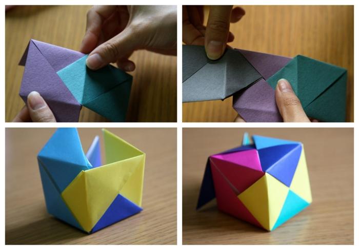 ideas fáciles y originales de manualidades con papel, cubos coloridos 3D, origami facil paso a paso
