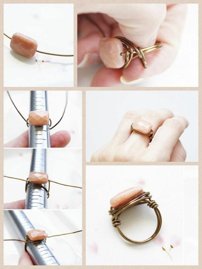 ideas para regalos de cumpleaños, anillo de alambre con abalorios, imagen con pasos de como hacerlo