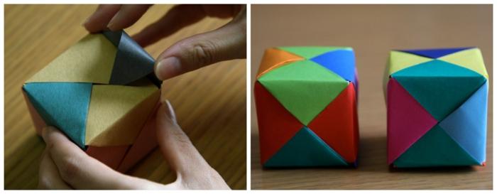 como hacer un cubo tridimensional de papel paso a paso, origami facil para niños y adultos con tutoriales