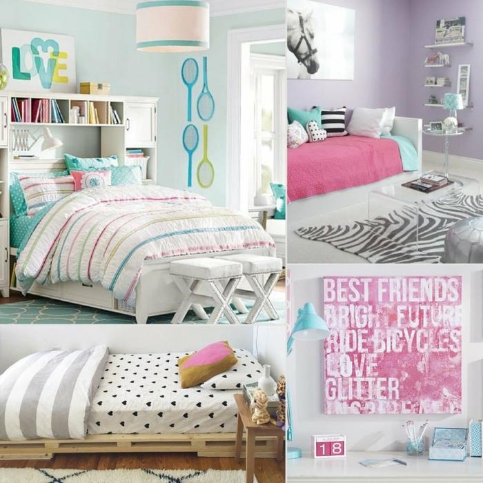 habitaciones juveniles niña, ideas para habitaciones con paredes pintadas de diferentes colores, raquetas
