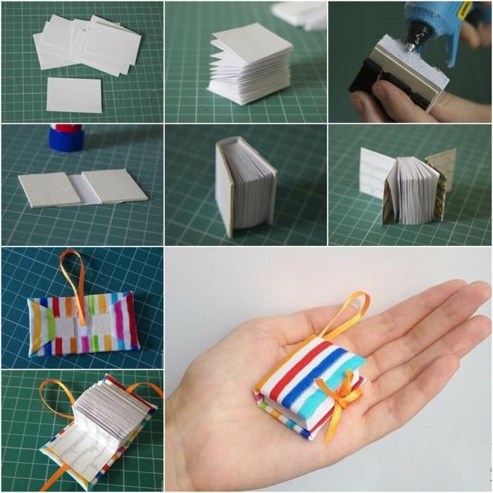 ideas para regalos de cumpleaños, librito pequeño con los pasos de como hacerlo en casa, decorado con tela