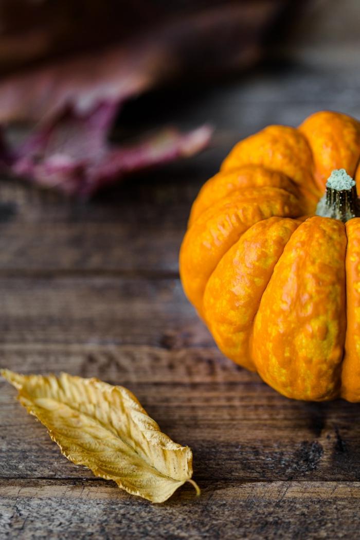 paisajes de ensueño, calabaza naranja en la superficie de madera con hojas de otoño al lado
