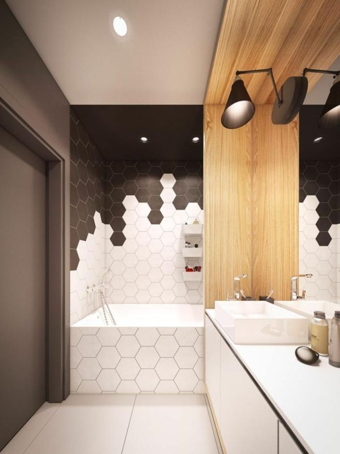 suelo hidraulico imitacion, baldosas hexagonales de color negro y blanco con suelo de color crema