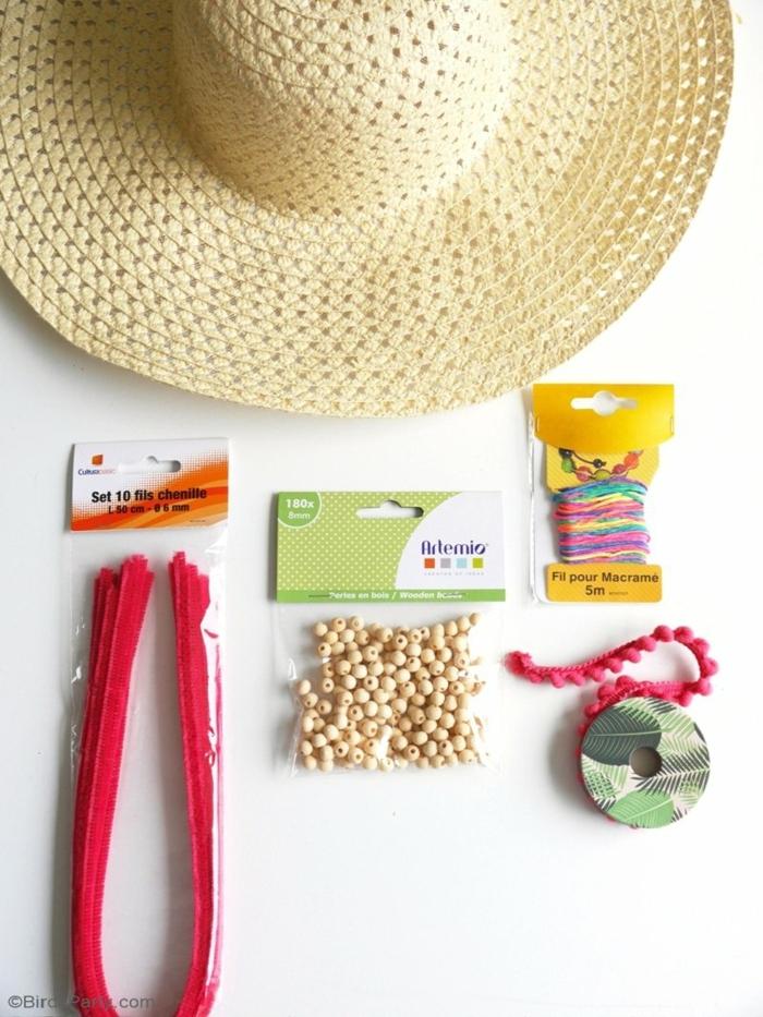 materiales necesarios para decorar un sombrero de verano, manualidades faciles y rapidas