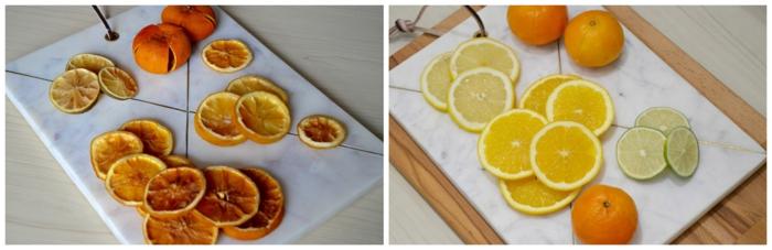 bonitas ideas de manualidades con piñas decoradas, frutas secas para adornar una guirnalda