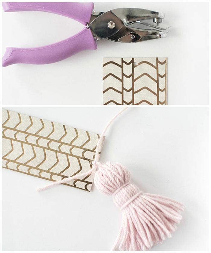 manualidades para regalar fáciles de hacer, marcarpaginas personalizados de cartón e hilo