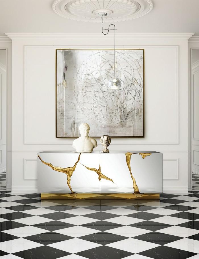 decoracion pasillo moderno con detalles en dorado, suelo de baldosas, recibidores modernos