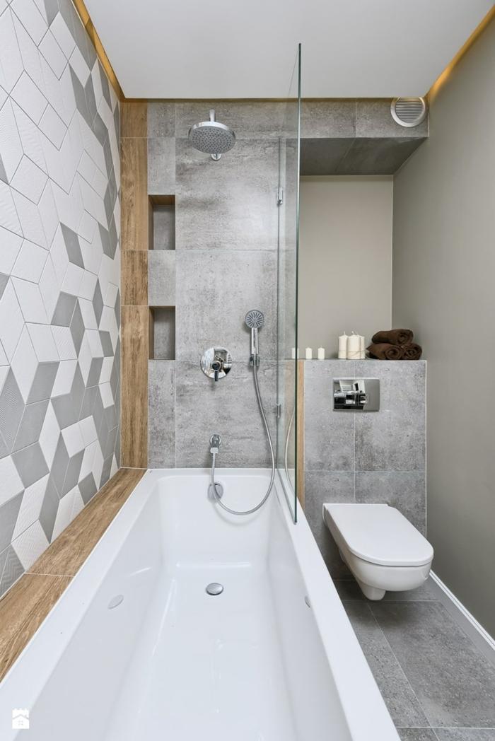 baldosas baño azulejos de color gris, bañera blanca con ducha metalica de inox, azulejos ordenados