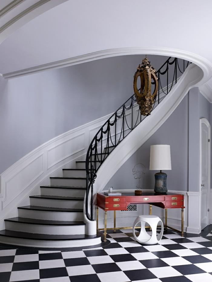 ideas de decoracion de interiores 2018, recibidores pequeños con encanto, baldosas en blanco y negro