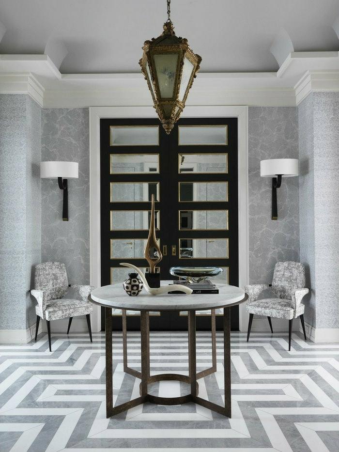 1001 ideas de decoraci n de recibidores modernos for Corredor deco blanco y gris