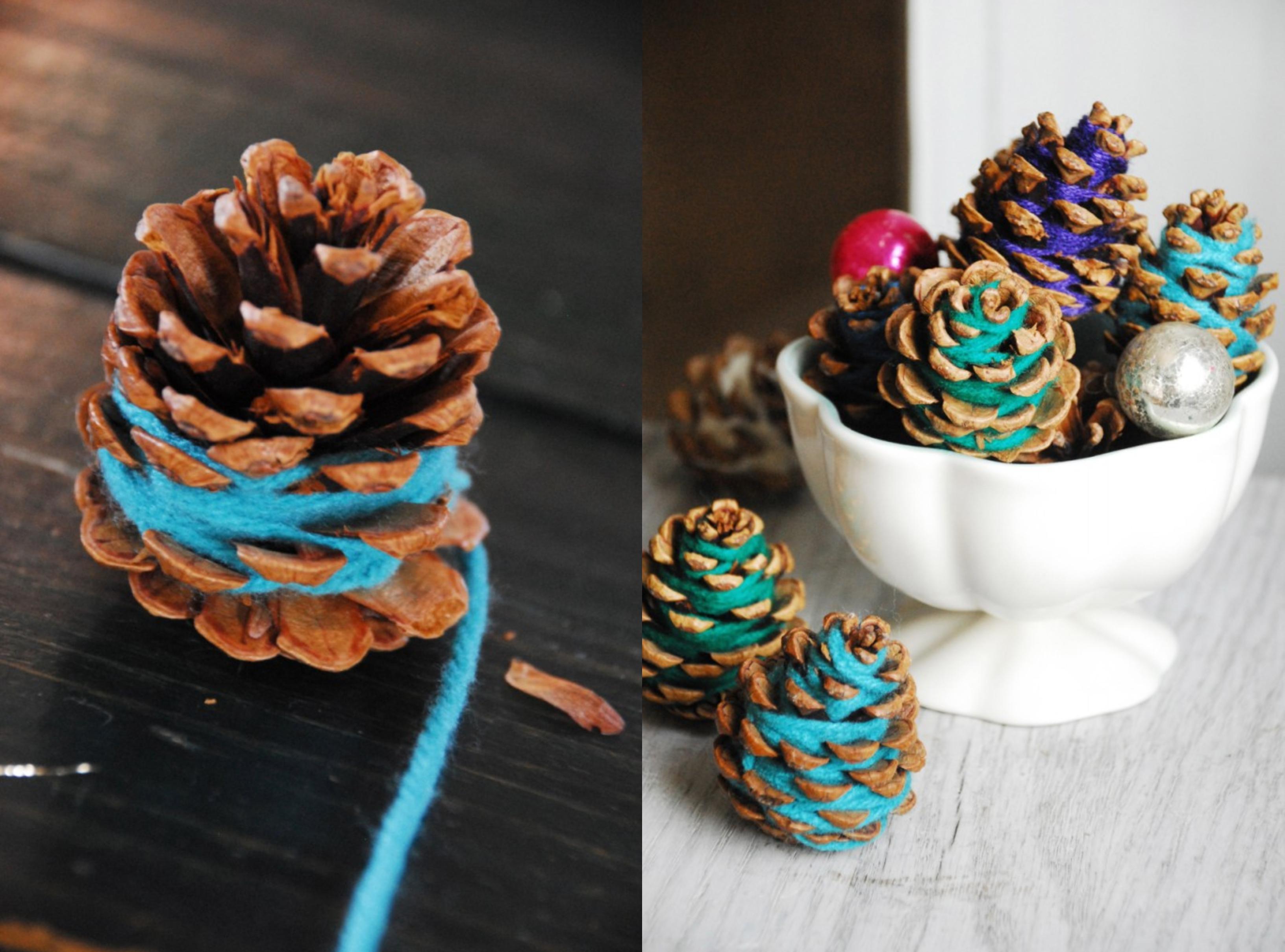como hacer manualidades con piñas paso a paso, bonitas y coloridas ideas para decorar el hogar
