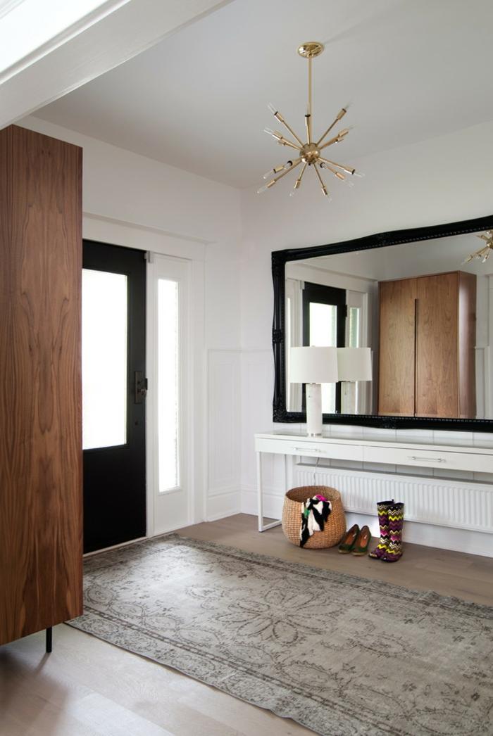 mueble recibidor moderno, decoracion en estilo minimalista, grande espejo en la pared, alfombra ornamentada