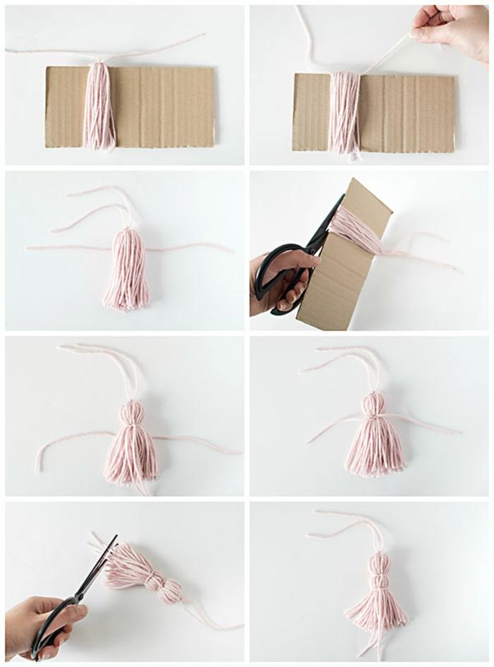 marcarpaginas personalizados hechos con hilo paso a paso, lazos de hilo rosado paso a paso