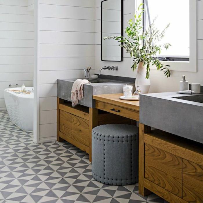 decoración de encanto baños grises con muebles de madera, cuartos de baño en blanco y gris