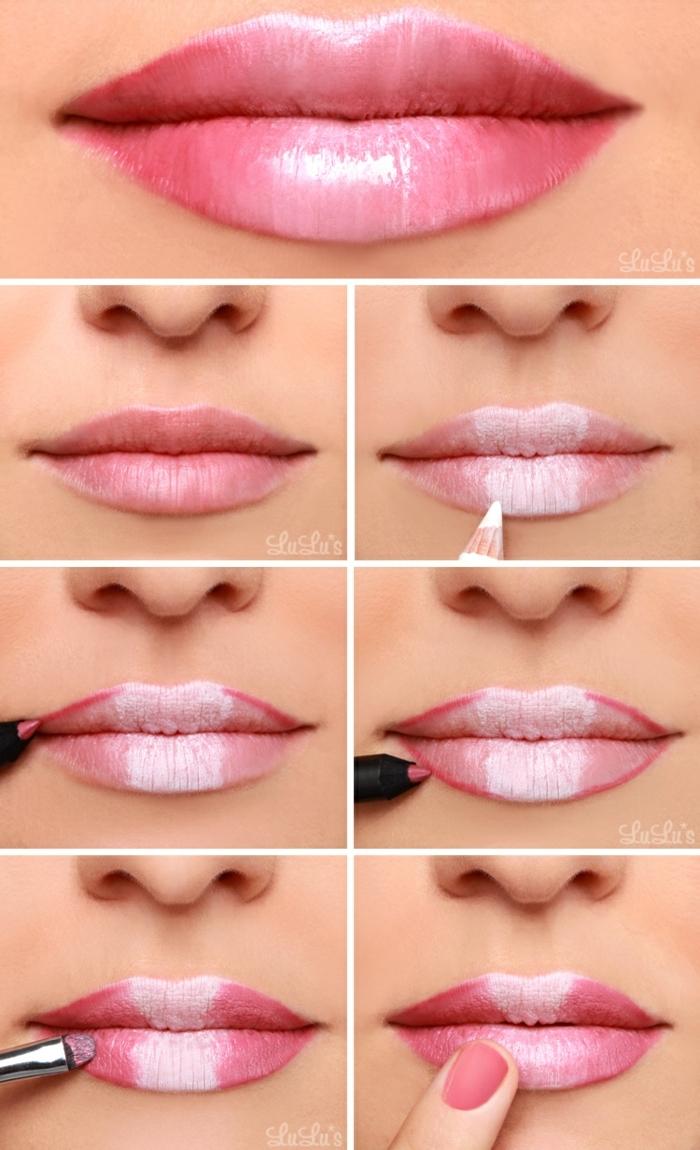 pasos sobre cómo perfilar labios con lápiz blanco para conseguir unos labios gruesos
