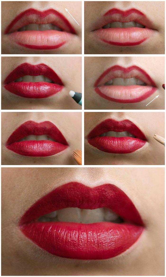 maquillaje con labios rojos con tutorial, como delinear los labios con lápiz rojo y barra de labios paso a paso